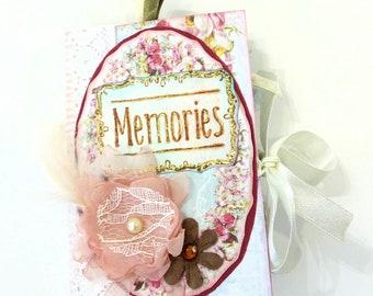 Vintage mini album, Scrapbook mini album, Shabby chic photo album, Memories photo book, Romantic mini album, Gift for herRemeber mini album