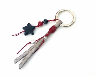 Stars keychain with beads, Handmade key chain gift, Unisex keychain, Howlite black star keychain, Unique gift