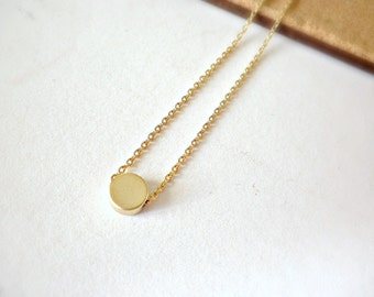 Tiny gold dot necklace - Minimalist layering everyday jewelry - Little round gold bead with gold chain