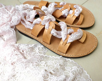 Lace up leather sandals, Greek leather sandals, Lace up gladiator light pink lace ,Toe ring spartian sandals,Wedding sandals,Summer flats