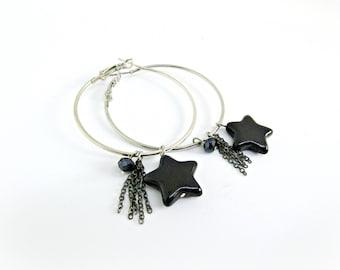 Hoop earrings / Black stars earrings / Silver hoop earrings with black stars and chain / Boho earrings / Large hoop earrings / Gift for her