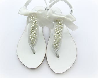 Wedding pearl sandals/ White sandals decorated with ivory pearls/ Bridal pearls sandals/ Greek sandals/ Bridal shoes/Bridesmaid flats