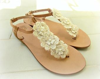 Bridal sandals / Wedding sandals / Ivory flower lace decorated sandals /Greek sandals / Summer Ivory flats / Bridal party / Beach wedding