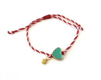 March Red white string with turquoise heart bracelet, Heart March bracelet, Spring adjustable bracelet, Greek Martis, Protection bracelet