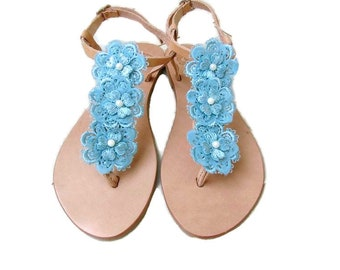 Wedding sandals -Something blue - Greek leather sandals decorated with blue lace flowers - Beach wedding shoes - Bridal party shoes