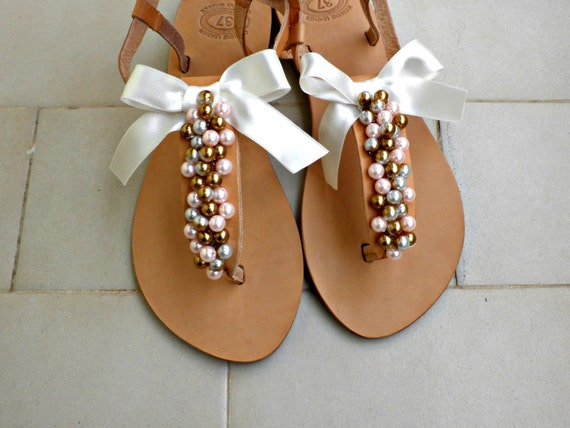 8abe7e88c2e489 Wedding sandals Pearls sandals Gold pink pearls and satin