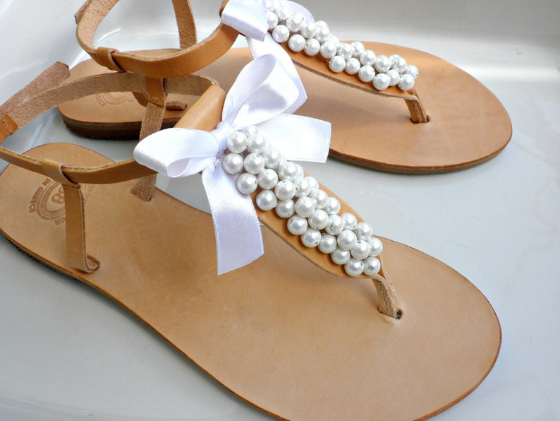 1f4f4a9ea850 Wedding leather sandals with white pearls and white bow