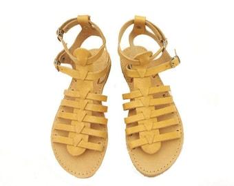 Ancient Greek leather sandals/ Gladiator sandals/Spartan sandals/ Summer shoes/ Genuine leather sandals/ Women summer flats/Beach shoes