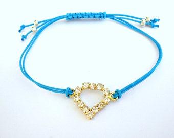 Heart friendship bracelet, Blue cord bracelet, Adjustable friendship bracelet, Minimalist jewelry, Summer bracelet, Layering jewelry