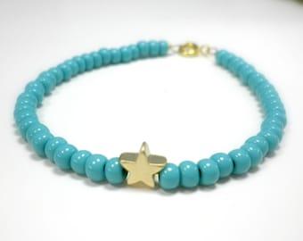 Tiny charm bracelet - Gold star beaded bracelet - Turquoise beaded star bracelet - Blue beaded charm bracelet - Pink beaded star bracelet