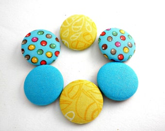 Blue yellow cover buttons ,Fabric covered buttons, Blue fabric buttons, Yellow fabric covered buttons,Sewing fabric buttons,Size 45 28mm
