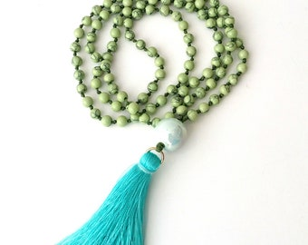 Green howlite necklace with turquoise tassel, Mala handknotted necklace, Long necklace with tassel, Rosary green necklace, Beaded Necklace