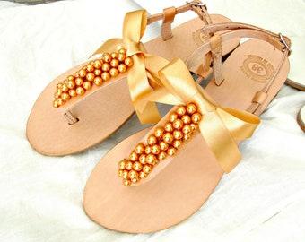 Bridal pearls sandals Wedding sandals Orange pearls Greek sandals Tangerine pearls Beach party flats Summer sandals Bridal party shoes