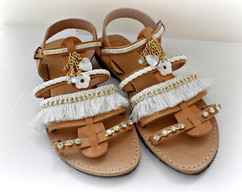 Wedding gladiator sandals, Boho chic sandals, White and gold sandals, Wedding sandals, Spartan sandals, Beach wedding, Women summer shoes