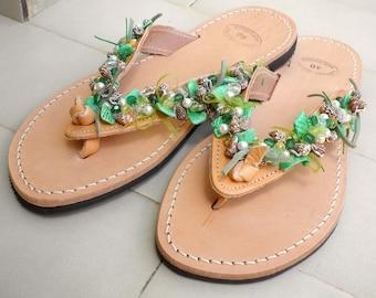 Beach leather decorated flats- Greek leather sandals- Green shell decorated sandals- Summer flats -Everyday sandals-  Beach flip flops