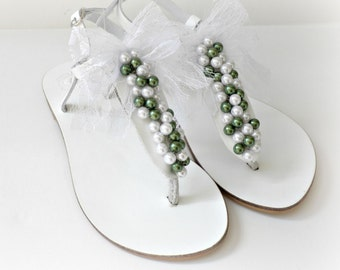 White leather sandals, Wedding leather sandals with a mix of white & green pearls and white lace bow,Summer shoes,Beach wedding,Bridal party