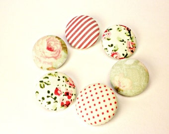 Pink 6 fabric covered buttons 22mm 7/8 inches- Fabric sewing buttons -Floral,strip polka dots fabric buttons-red,pink,green covered buttons