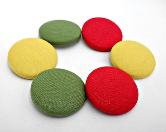 Covered buttons,Fabric buttons,Red  fabric buttons,Yellow fabric buttons,Green covered fabric buttons,28mm fabric buttons,Monochrome buttons