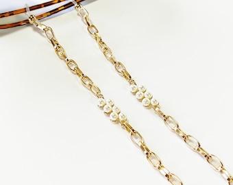 Pearl eyeglasses chain, Sunglasses gold chain, Eyeglasses necklace, Gold sunglasses chain, Sunglasses holder, Reading glasses holder