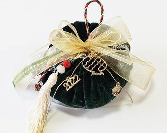 Green velvet pumpkin new year 2022 protection gift, Christmas ornament, New year 2022 gift, Good luck ornament, Home decor 2022