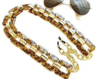 Sunglasses large chain, Glasses necklace, Sunglasses acrylic gold chain, Brown leopard acrylic sunglasses chain, Laces for sunglasses