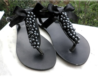 Black sandals, Decorated sandals with black pearls black bow, Pearls shoes, Greek sandals,Beach party, Summer shoes, Elegant black sandals