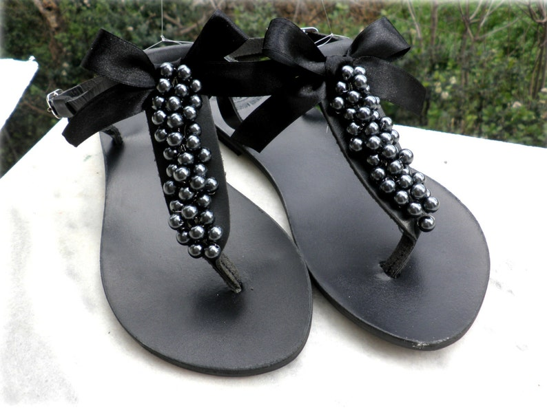 6b34ce6e255 Black sandals Decorated sandals with black pearls black bow