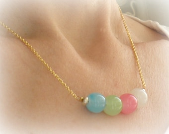 Delicate gold chain bead necklace,Colorful pastel glass Beaded necklace,Spring necklace,Multicolor glass opaque beads necklace ,Bar necklace