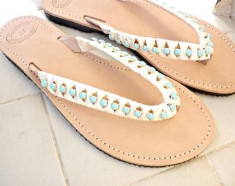 Wedding sandals - Greek leather sandals - Turquoise rhinestone sandals -Bridesmaids sandals -Beach flip flops with rhinestones