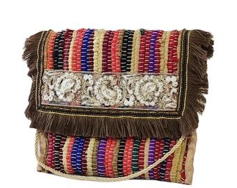 Boho Greek kilim bag, Greek kourelοu bag, Multicolor bag, Boho chic bag, Upcycled unique bag, Handmade hippie bag, Summer envelope bag