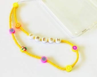 Yellow with fruits phone strap, Phone beaded bracelet, Trendy fruits phone charm, Phone jewelry, Beaded yellow phone string, Gift for her