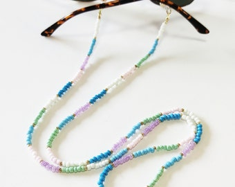 Pastel beaded sunglasses holder, Multicolor beaded sunglasses cord, Sunglasses necklace, Colorful glasses holder, Sunglasses strap