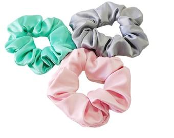 Pastel satin scrunchies, Pink satin scrunchies, Green pastel satin scrunchies, Grey satin Luxury satin srunchies, Handmade hair accessories,