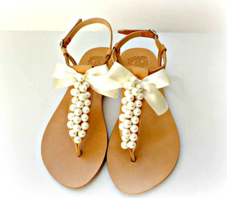 Wedding leather pearl sandals Greek sandals with ivory pearls