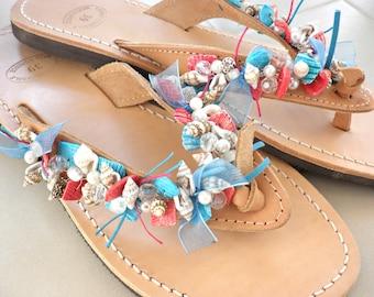 Summer leather sandals- Beaded sea shells leather sandals-Nautical sandals-Blue red  Natural sandals- Beach flats- Greek leather sandals
