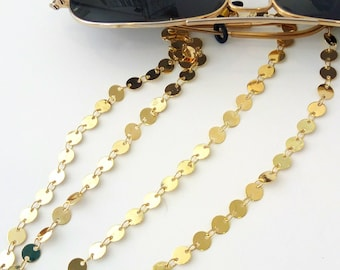 Gold sunglasses chain, Eyeglasses holder, Gold chain sunglasses necklace, Geometric laces for sunglasses, Reading glasses cord, Gift for her