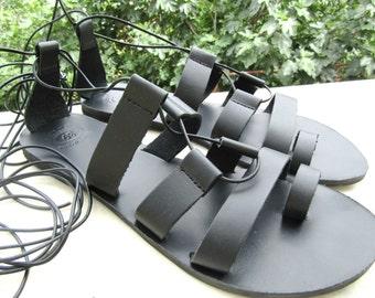 Gladiator black sandals/ Black lace up sandals/ Greek leather sandals/ Boho sandals Summer women shoes/ Beach wear/ Boho chic sandals