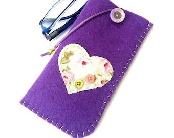 Purple felt case, Decorated eyeglasses purple case with heart, Glasses pouch, Floral heart eyeglasses case, Handmade case Mother's day gift