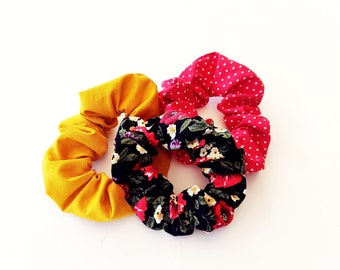 Floral scrunchies, Red polka dot scrunchy, Yellow scrunchy, Hair accessories, Retro scrunchies, Hair ties, Handmade scrunhies, Gift for her