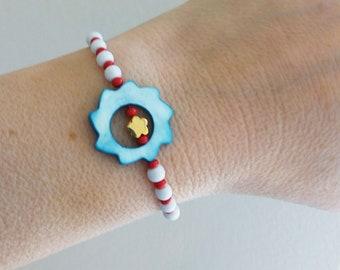 Red white beaded bracelet with blue sun adjustable  bracelet Spring  bracelet, Greek Martis March protection bracelet Summer bracelet