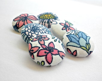 Flowers fabric buttons - Blue floral buttons - Cover fabric buttons - Sewing fabric buttons - Size 45 28mm 1 1/8 in -Blue pink buttons