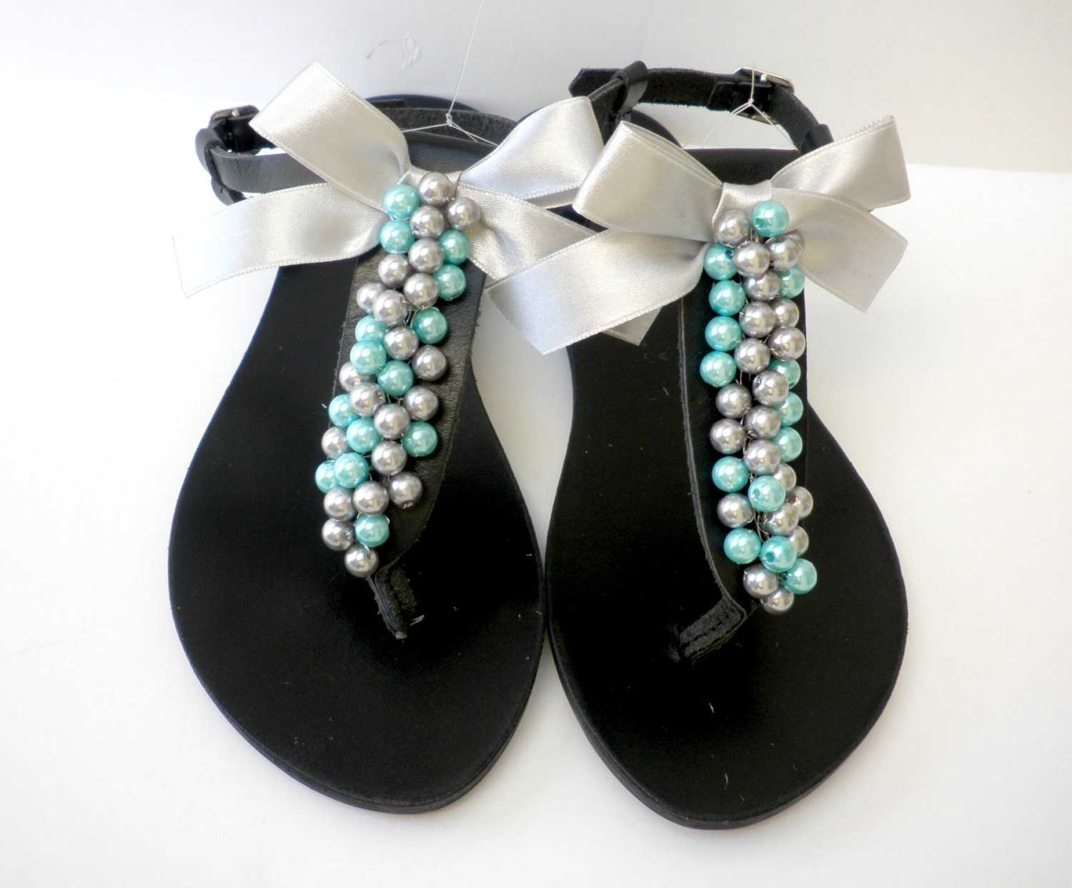 30af6c0c57b Black leather sandals decorated with mix silver turquoise pearls and ...