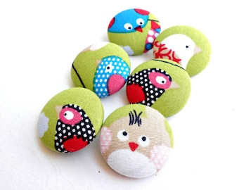 Fabric covered buttons- Bird buttons -Green fabric buttons -Size 28mm 1 1/8inch -Sewing buttons -Multicolor buttons- Nature buttons