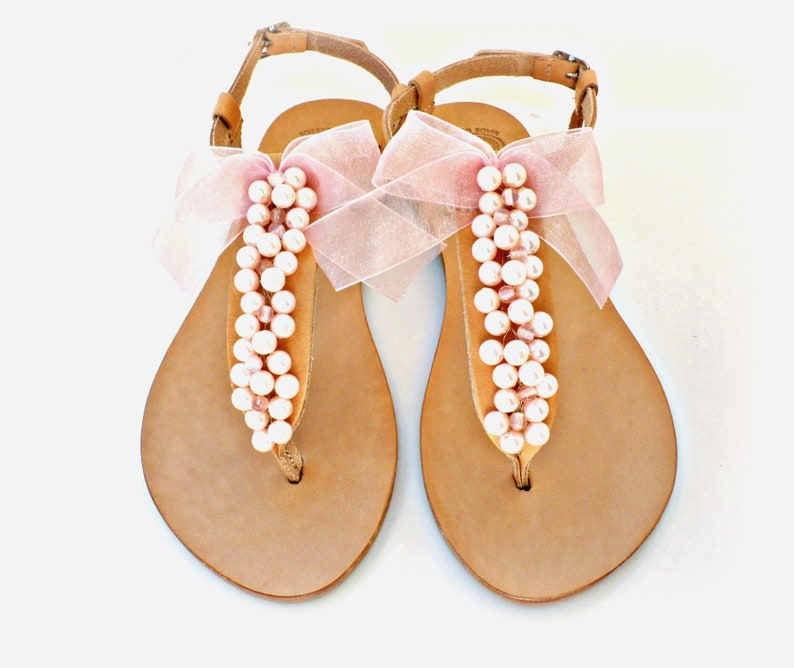 e0b7dc153cd57 Pink pearls sandals Wedding sandals Pearl sandals Greek
