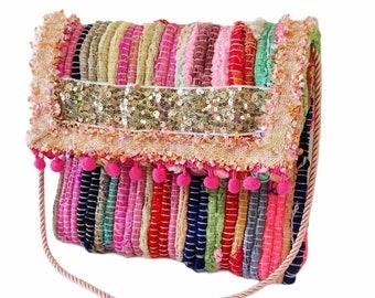 Greek pink kourelοu bag, Multicolor bag, Boho chic bag, Upcycled unique bag, Boho kilim bag, Handmade hippie bag, Summer envelope bag