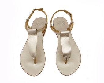 Silver strap leather sandals, Greek leather sandals, Luxury T strap silver sandals, Bridal sandals, Handmade sandals, Beach party shoes