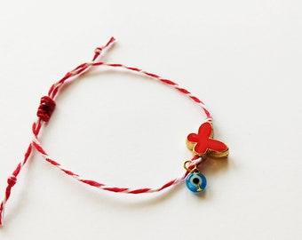 Bραχιόλι Μάρτης με μεταλλική κόκκινη πεταλούδα / March bracelet with red butterfly bead