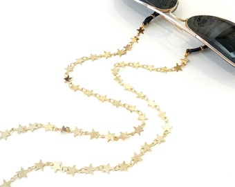 Sunglasses star chain, Stars eyeglass necklace, Gold glasses chain, Accessories for sunglasses, Eyeglasses necklace, Reading glasses chain