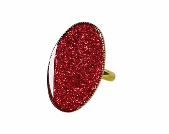 Red oval ring, Red glitter ring, Oval ring, Large adjustable ring, Stackable silver ring, Summer ring, Handmade ring, Birthday gift ring
