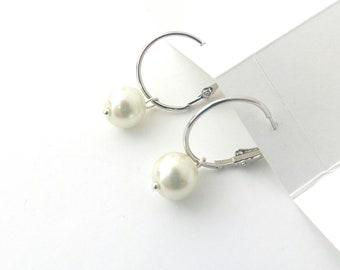 Silver hoop with pearl earrings, Wedding pearl earrings, Minimalist jewelry, Pearl earrings, Delicate earrings, Bridal pearl hoop earrings
